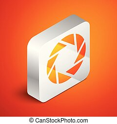Isometric Camera shutter icon isolated on orange background. Silver square button. Vector Illustration