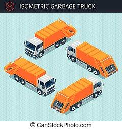 isometric, caminhão, lixo