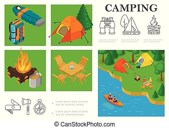 Isometric Camping Colorful Composition