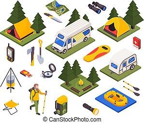 Isometric Camping Hiking Set