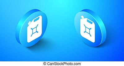 Isometric Canister for gasoline icon isolated on blue background. Diesel gas icon. Blue circle button. Vector