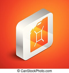 Isometric Canister for gasoline icon isolated on orange background. Diesel gas icon. Silver square button. Vector Illustration