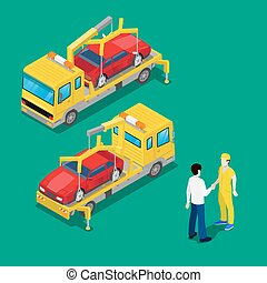 Isometric Car Assistance. Roadside Assistance Car. Tow Truck. Vector illustration