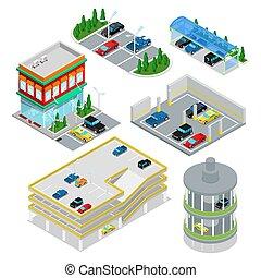 isometric, car, estacionamento, set., cidade,...
