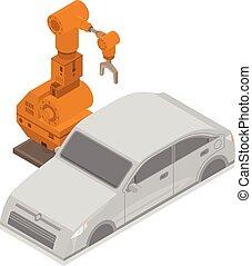 isometric, car, estilo, robô, fábrica, ícone, mão