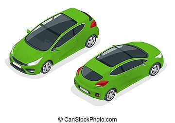 Isometric Car Green Hatchback 3-door Icon. Car template on white background. Hatchback isolated.