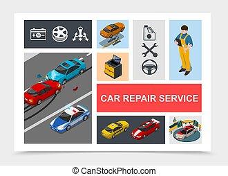 Isometric Car Repair Service Composition