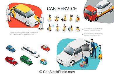 Isometric Car Service Elements Set