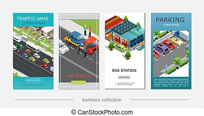 Isometric Car Service Vertical Banners