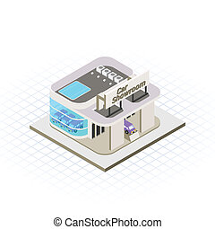 Isometric Car Showroom - This image is a modern car showroom...
