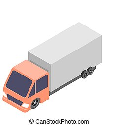 Isometric car truck icon. 3d vector illustration isolated on white background.