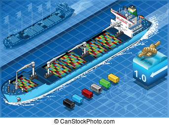 Isometric Cargo Ship with Containers in Front View