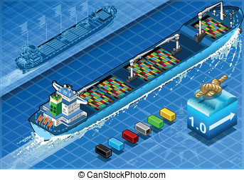 Isometric Cargo Ship with Containers in Rear View