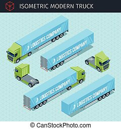 Isometric cargo truck with front and rear views. 3d vector...