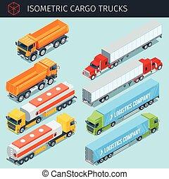 Isometric cargo trucks