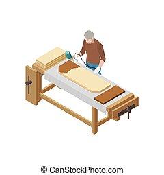 Isometric Carpenter Icon