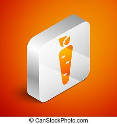 Isometric Carrot icon isolated on orange background. Silver square button. Vector