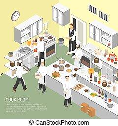 isometric, cartaz, cozinhar, sala, restaurante