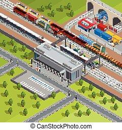isometric, cartaz, modernos, treine estação, estrada ferro