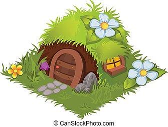 Isometric Cartoon Fantasy Hobbit Village House - Element for...