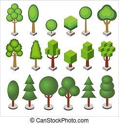 Isometric cartoon set of forest and city park vector trees and bushes of various geometric shapes isolated.