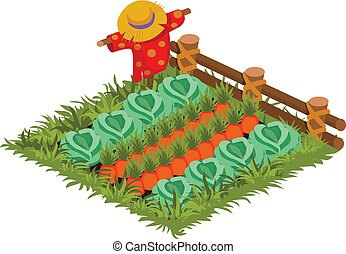 Isometric Cartoon Vegetable Garden Bed Planted with Cabbage and Carrot