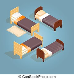 Isometric cartoon wooden bed for one person. - Isometric...