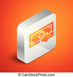 Isometric Cash back icon isolated on orange background. Financial services, money refund, return on investment, savings account, currency exchange. Silver square button. Vector Illustration