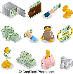 Isometric Cash Icons Set - Isometric cash icons set with...
