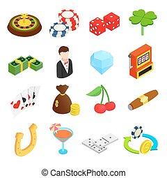 isometric, casino, 3d, iconen