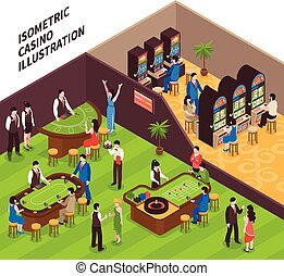isometric, casino, illustratie