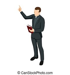 Isometric Catholic priests with a cross and bible isolated on white background