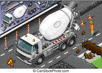 Isometric Cement Mixer Truck in Front View - Detailed...