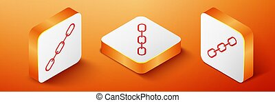 Isometric Chain link icon isolated on orange background. Link single. Orange square button. Vector