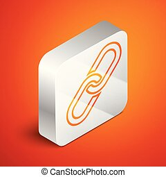 Isometric Chain link icon isolated on orange background. Link single. Silver square button. Vector Illustration
