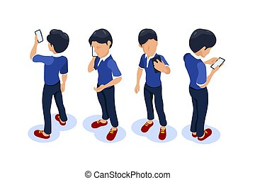 Isometric character with a phone in his hands. Cartoon man from different angles. Can use for web banner, infographics, hero images.