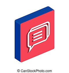 isometric chat icon on white background, speech bubble