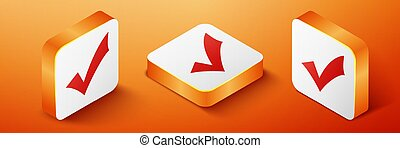 Isometric Check mark icon isolated on orange background. Tick symbol. Orange square button. Vector