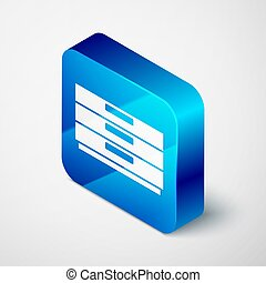 Isometric Chest of drawers icon isolated on grey background. Blue square button. Vector
