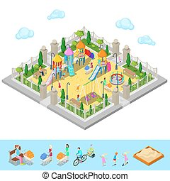 Isometric Children Playground in the Park with People, Sweengs, Carousel, Slide and Sandbox. Vector illustration