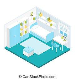 Isometric Children Room Composition