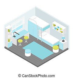 Isometric Children Room Composition