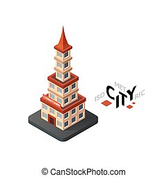 Isometric chinatown icon, building city infographic element, vector illustration