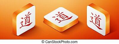 Isometric Chinese calligraphy, translation Dao, Tao, Taoism icon isolated on orange background. Orange square button. Vector
