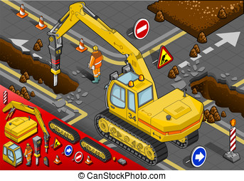 Isometric Chisel Excavator in Rear View - detailed...