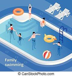 isometric, chorągiew, pojęcie, rodzina pływacka, styl