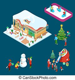 Isometric Christmas Decorated House