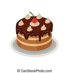 isometric, cielna, wiśnia, świetny, czekolada, top., wektor, smakowity, biczowany, zachwycający, deser, ciastko, ikona, czerwony, śmietanka