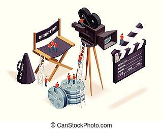 Isometric Cinema Elements Concept
