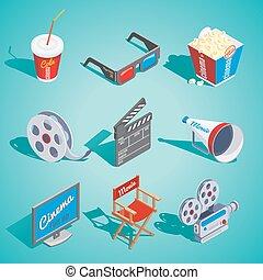 Isometric Cinema Elements Set